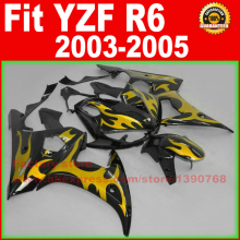 ABS motorcycle road fairings kit YAMAHA R6 2003 2004 2005 YZF 03 04 05 yellow flame fairing kits bodywork part - ZXMOTOR Fairings Store store