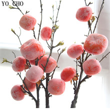 YO CHO Free Shipping 15 Heads Persimmon Fruit Simulation Flower Birthday Party Office Home Verandah Baby Shower Garden Decor(China)