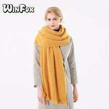 Winfox 2017 New Brand Fashion Winter Yellow Solid Color Cashmere Blanket Scarf For Womens Ladies(China)