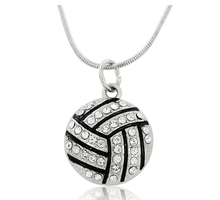 free shipping 10pcs Basketball/Baseball /Soccer/Volleyball/American Football necklaces pendants With Crystals jewelry(China)