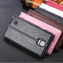 original leather case For samsung galaxy note 4 note4 case flip luxury back leather cover for samsun note 4 Mobile Phone Cases