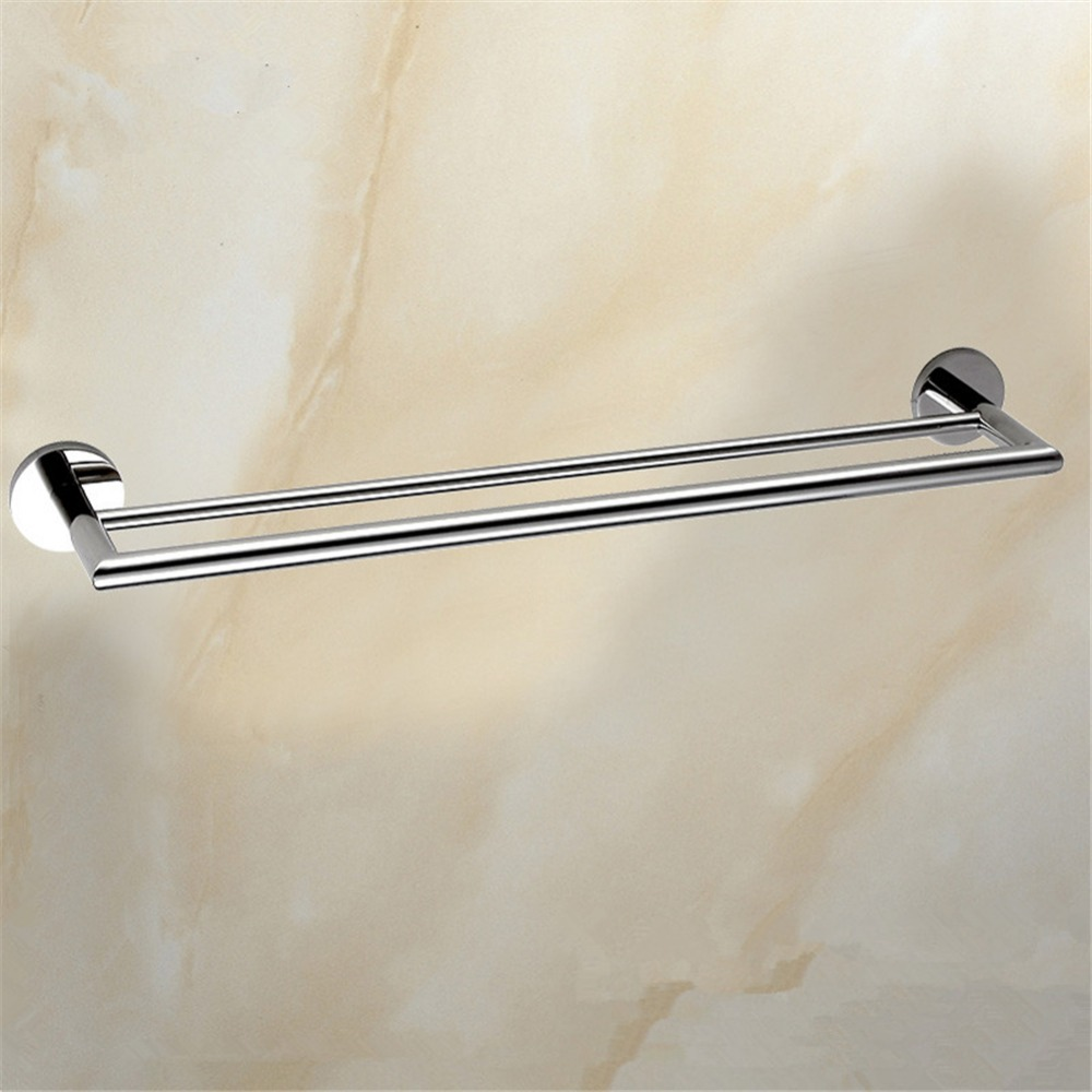 Aothpher Chrome 60CM Wall-Mounted Bathroom Mirror Poish Towel Bars Towels Racks stainless Double Towel Rack For bathroom Kitchen<br>