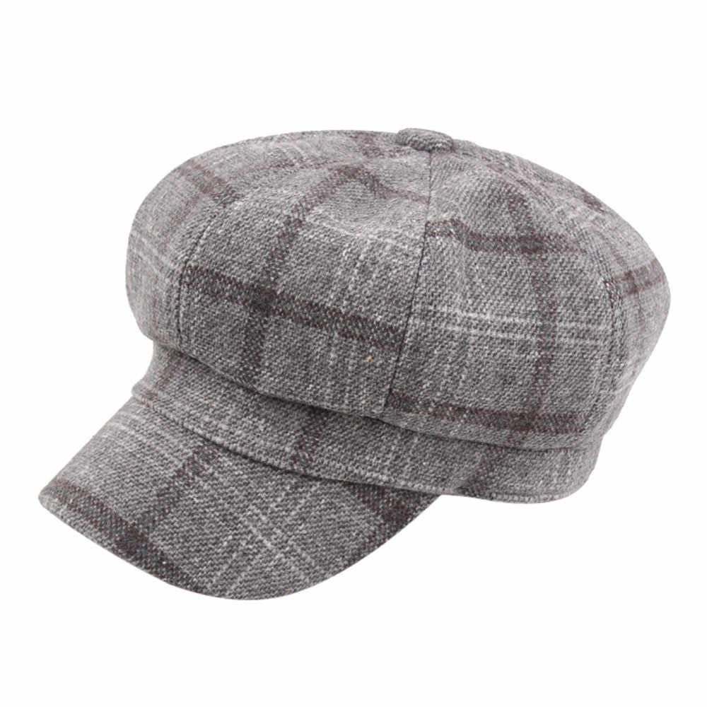 boutique pour officiel boutique de sortie nouveaux prix plus bas Newsboy Caps Cotton Octagonal Hat For Women Autumn And Winter Plaid Berets  Girls Casquette Casual Gavroche Boina Beret