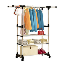 FREE Shipping 3Tier Stainless Steel Multi Function Wardrobe Storage Closet Racks The Pulley Can Be Moved(China)