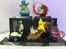 Free Shipping Cute Monster Anime GK Pikachu Squirtle Gengar Cyndaquil Snorlax Boxed PVC Action Figure Collection Model Doll Toy(China)