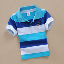 Fashion blue and white stripe tee shirts children polo shirt with short sleeve boys dress shirts for kids