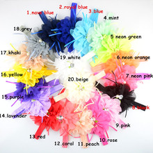 20pcs/lot 20 Color U Pick 4.3Inch Large Chiffon Fabric Flower With Shimmery Stretchy FOE Headbands girls Shower Gift FDA221