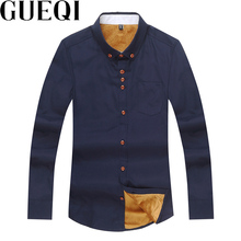 GUEQI ADD Fleece Men Warm Shirts Plus Size M-5XL  Autumn Winter Long Sleeve Wear 2017 Man Colors Casual Cotton Tee Shirts