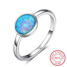 925 Sterling Silver Rings For Women Blue Opal Stone Simple Design Rings Jewelry  Anniversary Gift for Her  (RI102875)
