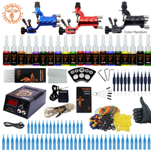 Beginner Starter Complete Tattoo Kit Professional Tattoo Machine Kit 3 Rotary Machine Guns 20 Colors Ink Power Supply Grips Set