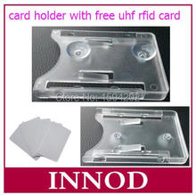 transparent Plastic card Holder with Sucker for EPC global Class 1 Gen2 Standard size ic/id Card + free UHF ISO 6C Card(China)