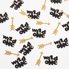 Wild One with arrow glitter confetti, one birthday table decor, wild one confetti, arrow confetti,black and gold table scatter
