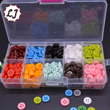 Wholesale 10 color mixed 3 types with the box 9mm candy colors Resin children Sewing Button for child cloth DIY accessories(China)
