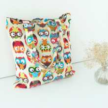 Floral And Owl Printed Canvas Tote Female Casual Beach Bags Large Capacity Women Single Shopping Bag Daily storage Bag