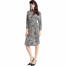 NEW Women leopard print wrap dress long sleeve vintage long loose dresses mid calf party Vestidos robe muslim women clothing(China)
