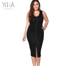 Buy Yilia Plus Size Dresses XXXL Summer 2017 Sexy Black Party Dresses V-neck Soild Women Clothing Tank Sleeveless Midi Dress for $21.78 in AliExpress store