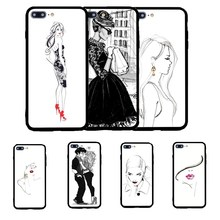 Cool Modern Ultra Thin Sexy Beautiful Unique Young Girl Lady Sketch Illustration Phone Case Cover Coque for iPhone 7 6 plus 5 SE