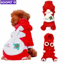 HOOPET pet dog clothes Christmas suits Soft Dog Christmas Clothes Santa Claus Costume Outwear Coat Polar Fleece winter #K