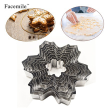 Facemile 9pcs Snowflake Cookie Mold Biscuit Cutter Fondnat Cake Decorating Tool Baking Mold(China)