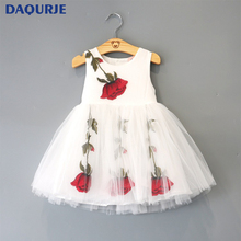 New Europe Fashion Style Summer Girls Clothes Romantic Flower Sleeveless Girl Dress Princess Party Vestido Children's Dresses