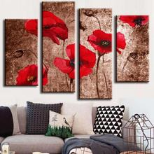 4 Pcs/Set Modern Flower Wall Picture Abstract Red Flower Poppies on Brown Painting Print on Canvas Wall Art Poster Home decor