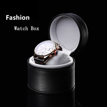 Wholesale Round Leather Watch Box Top Quanlity Single Watch Storage Case Fashion Watch Gift Boxes A077(China)