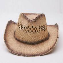 Wholesale 8pcs/Lot New Nature Cowboys Straw Hat Fashion Men Western Straw Hats Women Cowgirls Sun Cap Ladies Summer Beach Caps(China)