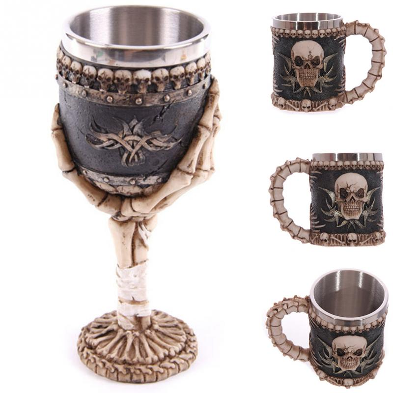 Hot Sale 1 pcs Drinking Cups Coffee Beer Pirate Gothic Mugs Skull Bones Fiendish 3D Goblet Tankard Mug(China)