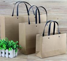 12-15 Alice, Size: 25*9*17cm brown kraft bag with Black handle,40pcs/lot Stand up shopping bags 250gsm paper packing bag