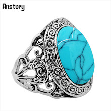 Oval Stone Snail Flower Rings For Women Vintage Look Antique Silver Plated Fashion Jewelry(China)