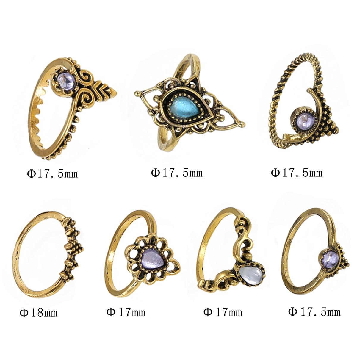 7pcs/set Vintage Boho Rings Shellhard Purple Gemstone Midi Knuckle Ring Set For Women Female Bohemia Jewelry