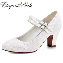 Woman Shoes Wedding Bridal White Ivory Closed Toe Med Block Heel Comfort Mary Jane lace Bride Lady Lace Prom Party Pumps HC1708(China)