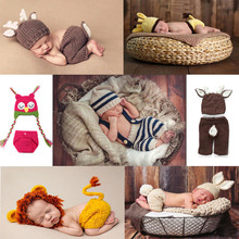 Multicolor Newborn Costume Photography Props Hand Made Crochet Baby Photo Shoot Clothes for 0-3 Months 1 Set