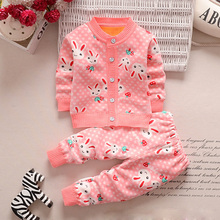 Girls clothing set winter children Cardigan suit baby Boys cartoon Sweater warm clothes kids plus velvet tracksuit leisure wear