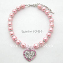 Dog Cat Pearls Necklace Collar Rhinestones Heart&rose Charm Pendant Pet Puppy Jewelry(China)