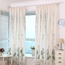 Green Lotus Flowers Pattern Printed Window Curtains 100*200 CM Living Room Hook Process Pastoral Curtain Home Decor
