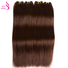 Real Beauty Brazilian Straight Hair Weave Bundles Color 4 Light Brown Human Hair Extension NoTangle Can Buy 3/4Bundles Remy Hair(China)
