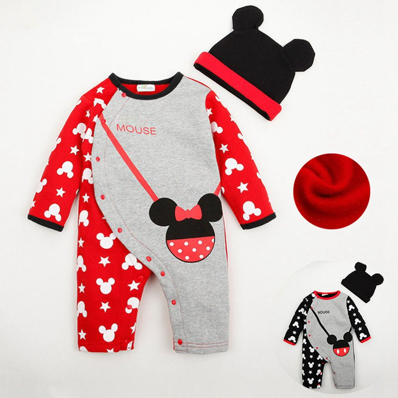 Toddle Baby Set Clothes Cotton Long Sleeve Cartoon Mouse Velvet  Autumn&amp;Winter Casual Newborn Baby Jumpsuit&amp;Hat 3 Size For 0-2Y<br><br>Aliexpress