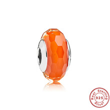 2017 Top Quality Silver Plated DIY Orange Murano Glass Beads Fit Original Pandora Bracelet Charms For Women Jewelry Gift