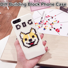 Coque Cute Shiba Inu Dog Back Cover Doge Building Block DIY Brick Puzzle Plastic Hard Phone Case For iPhone 6 6S 7 Plus