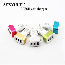 1pc SEEYULE Hot 3 USB Universal Car Charger Adapter USB Socket Triple Ports Car-charger for Mobile Phon/MP3/Tablet/Pad