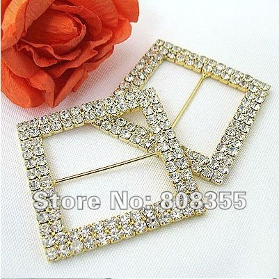 Free shipping--1pcs A-GRADE Gold Double Row Square Diamante Rhinestone Big Buckle For Organza Chair Sash Wedding Favor Decor(China (Mainland))