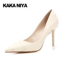 Lace High Heels 4 34 Small Size Wedding Stiletto Off White Pumps 2017 Black Pointed Toe Ladies Classic 9cm Inch Shoes Ivory