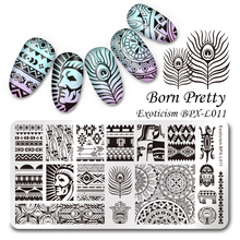 BORN PRETTY Unique Exoticism Rectangle Stamping Template 12*6cm Feather Arrow Nail Art Image Plate BPX-L011