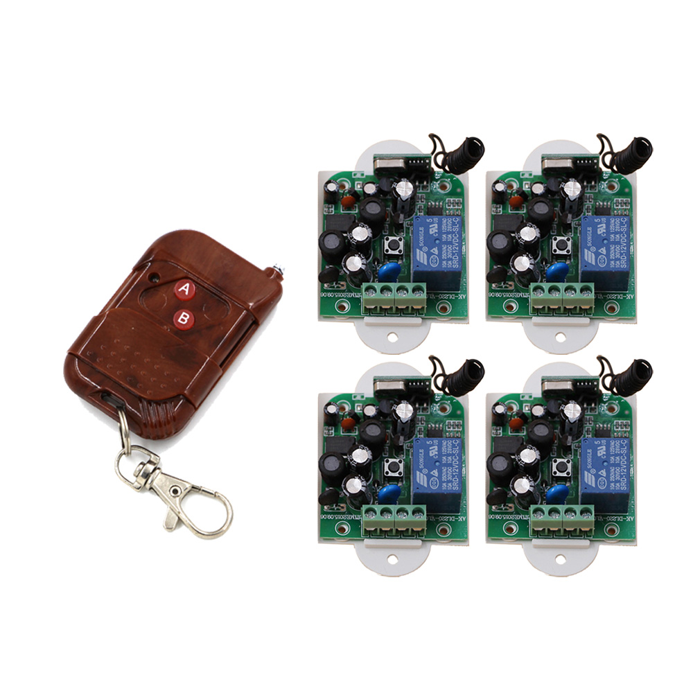 AC85V 110V 220V 250V RF Wireless Remote Control Switch with Two- Manual Button 4PCS Receiver+1PCS Transmitter for Smart Home New<br>