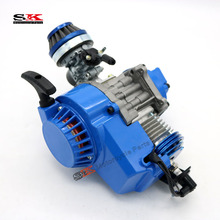 BLUE Perfor mance 49cc Engine Mini Moto Quad ATV Pocket Bike