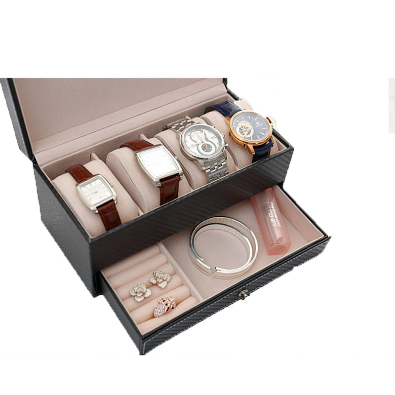 Shellhard Watch Jewelry Box Black Leather Watch Display 2 Layer Box 4 Slot Organizer Lockable Case Drawer Wedding Birthday Gift