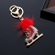 Fashion Crystal Ice Skate Shoe Alloy Keychain Car Accessories Bag Charm Pendant Keyring @M23(China)