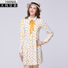 Large size women peterpan collar dress 2017 spring new oversize bow flower chiffon dresses manufacturers wholesale(China)