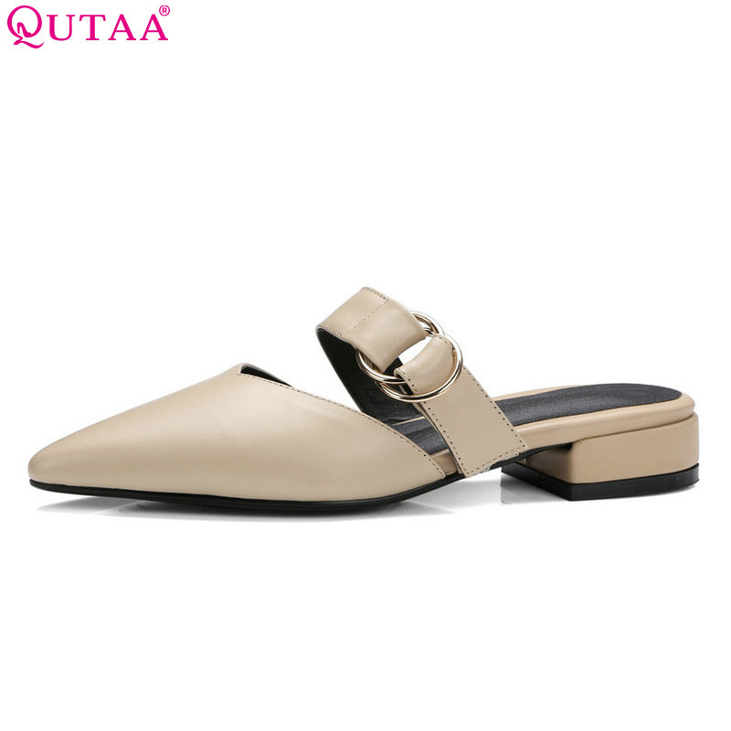 QUTAA 2018 Women Pumps Westrn Style Genuine Leather+pu Women Shoes Slip on Buckle Platform Square Heel Ladies Pumps Size 34-39<br>